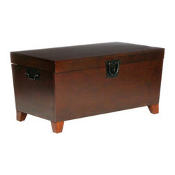 "Holly & Martin - Holly & Martin Dorset Trunk Cocktail Table-Espresso X-21-5-510-880-10 - What a combination of contemporary style and usefulness! This espresso trunk will not only help you organize your living room by giving you extra storage, but also look great. Black metal handles complete this simple design.  - FEATURES:                                                                                             - Lid opens for lots of storage                                                                         - Black metal hardware                                                                                  - Espresso stain finish                                                                                 - PRODUCT SPECIFICATIONS:                                                                               - Tabletop: 37.5"" W x 20.25"" D                                                                          - Interior storage: 34.25"" W x 17"" D x 11.5"" H (plus 2.25"" H in lid)                                    - Clearance: 31"" W x 13.5"" D x 2.75"" H                                                                  - Approx. weight: 61 lb.                                                                                - Supports up to: 80 lb. (top), 100 lb. (interior storage)                                              - Materials: pine, MDF, pine veneer, metal                                                              - Assembly required                                                                                     - Overall: 38.75"" W x 21.25"" D x 18.75"" H"