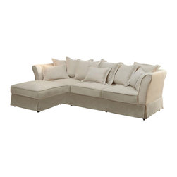 Coaster - Coaster Karlee Cottage Style Sectional in Oatmeal - This sectional from Karlee collection by Coaster Furniture offers your living room into something comfortable and cozy. Wrapped in a plush oatmeal linen with a sinuous base and includes extra back pillows, our Karlee sectional will add a soft and inviting touch to your living room. Features removable seat cushions for easy cleaning. Pair this cozy collection with a casual-styled occasional group.
