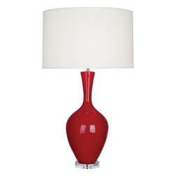 Robert Abbey - Audrey Table Lamp - What if you could find a lamp with a ceramic base in a classic silhouette that comes in so many colors you literally want one in every room? This could be the one. Its pale luxe fabric shade sits atop a lucite base in shades from amethyst to baby blue and everything in between.