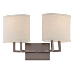 Nuvo Lighting - Nuvo Lighting 60-4852 Gemini 2-Light Vanity Fixture with Khaki Fabric Shades - Nuvo Lighting 60-4852 Gemini 2-Light Vanity Fixture with Khaki Fabric Shades