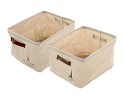 Mon Cheri - The Canvas Storage Bin, Set - this Parisian storage bin is perfect for stashing your dearest goods. the handles make it easily transportable and it is collapsible for storing when not in use. available in navy or brown Eiffel Tower design.