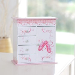 "Cristiana Ballerina Musical Jewelry Box - 9.25W x 8H in. - Your favorite little girl deserves only the best. Thrill her with the Cristiana Ballerina Jewelry Box a charming piece that's just right for holding her most precious treasures. Constructed of MDF this jewelry box features a lacquered fashion paper overlay in shades of delicate pink and white with a floral/ballet design. Open the top to reveal a mirrored interior along with two storage compartments; the box chimes out a musical rendition of """"Waltz of the Flowers"""" when the lid is lifted. The front of this jewelry box features four small drawers ideal for keepsakes on the left hand side. The right side has a door which opens to reveal a necklace carousel inside. Decorative silver-tone metal hardware completes the look. About MeleEmidio Mele an Italian immigrant to the United States came to New York City in 1896 and learned to make jewelry boxes as an apprentice before founding Mele Manufacturing in 1912. He began by designing and building elegant displays for jewelry store windows. His jewelry box making business grew throughout the 1900s responding to demands for boxes to hold Purple Hearts during WWII and developing as a popular household name for quality jewelry boxes. Today Mele Jewelry Box is known as the Mele Companies which encompass various divisions under the Mele name. Now based in Utica N.Y. Mele still upholds the family atmosphere on which it was founded and remains America's foremost name in jewelry cases."