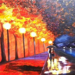 Something Sexy About The Rain (Original) by Simone - experimenting with colors and the use of my pallet knife, I knew I wanted to incorporate light and rain.  I love the romantic feel of the couple walking together sharing an umbrella