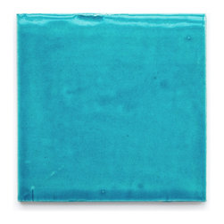 1015E Caribbean Blue (Glossy Finish) - Handmade Ceramic Tile - Handmade Ceramic Tile