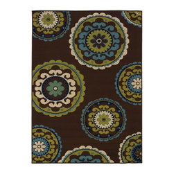 "Oriental Weavers - Indoor/Outdoor Caspian 6'7""x9'6"" Rectangle Brown-Green Area Rug - The Caspian area rug Collection offers an affordable assortment of Indoor/Outdoor stylings. Caspian features a blend of natural Ivory-Green color. Machine Made of Polypropylene the Caspian Collection is an intriguing compliment to any decor."