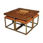 Sarreid Ltd - Low Game Table with Four Stools - Haven't you always wanted to have game night, but nobody is comfortable sitting on the floor? This game table comes complete with four stools and game pieces. Let the games begin!