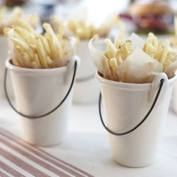 BBQ Fry Bucket - Carry your homemade fries in style in these whimsical buckets. Perfect for serving pickles or popcorn, as well as for distributing flatware and straws!