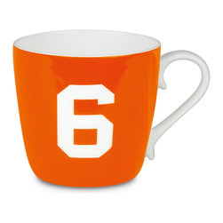 Konitz - Colors Mug Number - Orange - What's your number? Flaunt it on an attractive bone china coffee mug, and you'll get those good luck vibes going with every sip.