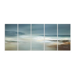 Stupell Industries - Calm Waters and Cloudy Sky Beach Scene Oversized Canvas Triptych - Made in USA. Ready for Hanging. Hand Finished and Original Artwork. No Assembly Required. 50 in L x 1.5 in W x 21 in H (20 lbs.)Stupell now offers American Made Canvas! The newest sensation in home decor is our oversized Triptych Wall Art. Featuring original art, these large pieces form one image spread over several panels. It is the perfect oversized piece for your main walls. Whether it is a cityscape, an abstract or a modern, there is something for everyone. The canvas is hand stretched onto the 1.5 in.  MDF and comes with sawtooth hangers on the back for instant use. MADE IN USA.