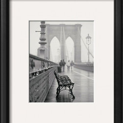 Artcom - Lonely Bench by Teo Tarras - Lonely Bench by Teo Tarras is a Framed Art Print set with a ONYX wood frame and a Crisp - Bright White mat.