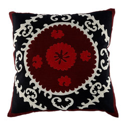 Black and Red Square Suzani Pillow - This is a bright and bold handcrafted pillow that will add some suzani style to your sofa without having to drape the whole thing.