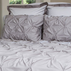 400 Thread Count Pintuck Duvet Cover, The Valencia Dove Warm Gray