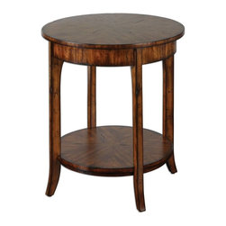 Uttermost - Carmel Round Lamp Table - Casual styling in warm, old barn finish with distressed primavera veneer.