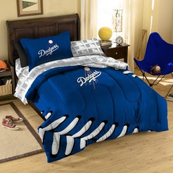 Northwest Co. - MLB Los Angeles Dodgers Twin Bed in Bag Set - Make your room announce your love for Americas favorite pasttime sport.  Our MLB 5 piece Bed in a Bag Sets make an ideal central point for all your other team gear.  Whether game night or just another night for sleeping, the bold and large applique logo stands out against the solid color background and baseball stitching motiff, making quite the impression. This polyester/cotton blend set comes with 1 sham, 1 pillowcase, 1 flat sheet, 1 fitted sheet and 1 applique comforter.