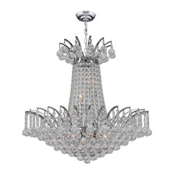 "Worldwide Lighting - Empire 8 Light Chrome Finish and Clear Crystal Chandelier 19"" D x 19"" H Medium - This stunning 8-light crystal chandelier only uses the best quality material and workmanship ensuring a beautiful heirloom quality piece. Featuring a radiant chrome finish and finely cut premium grade crystals with a lead content of 30%, this elegant chandelier will give any room sparkle and glamour. Worldwide Lighting Corporation is a privately owned manufacturer of high quality crystal chandeliers, pendants, surface mounts, sconces and custom decorative lighting products for the residential, hospitality and commercial building markets. Our high quality crystals meet all standards of perfection, possessing lead oxide of 30% that is above industry standards and can be seen in prestigious homes, hotels, restaurants, casinos, and churches across the country. Our mission is to enhance your lighting needs with exceptional quality fixtures at a reasonable price."