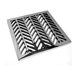 "DesignerDrains - Geometric Wheat Shower Drain, Brushed Stainless Steel/Nickel, 3-3/4"" Square - Polished Stainless Steel made to fit Ebbe drain roughs E4400. This Designer Drains Bubbles measures 5/32"" x 3-3/4"" Square. Made in the USA"
