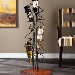 Upton Home - Upton Home Bodden Wine Rack - Industrial coil holders display twelve of your most prized wine bottles in this wine storage sculpture. The chic,space saving design is great for smaller rooms while the brown mahogany stain and wrought iron finish complements most styles