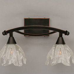 Toltec Lighting - Bow Black Copper Two-Light Bath Bar with Italian Ice Glass - - 7 Italian Ice Glass   - Bulbs not included Toltec Lighting - 172-BC-759