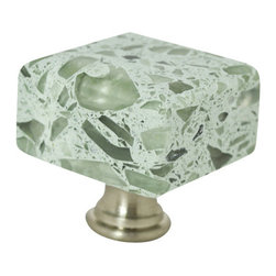 """Pierre Habitat - Architectural Cabinet Knob C - Make all your home cabinetry """"pop"""" with these stylish Architectural Cabinet knobs C from Pierre Habitat. Made with recycled glass that is totally green and sustainable. These pulls not only look good, they are good - for both you and the planet.  Planet-Friendly Hardware designed for you by Pierre Habitat. Sold Single."""