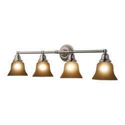 Design Classics Lighting - Four-Light Bathroom Vanity Light with Amber Bell Shades - 674-09/G9999 KIT - Transitional satin nickel 4-light bathroom light. Features four warm amber glass shades to provide a pleasant inviting glow when lit. Takes (4) 100-watt incandescent A19 bulb(s). Bulb(s) sold separately. Damp location rated.