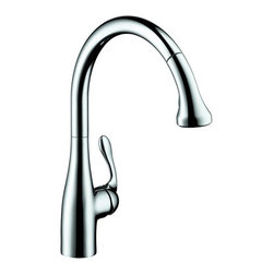 "Hansgrohe - Hansgrohe 06460000 Chrome Allegro E Allegro E Pull-Down Kitchen Faucet - Product Features:  All-brass faucet body and handle construction Fully covered under Hansgrohe s limited lifetime warranty Hansgrohe faucets are designed and engineered in Germany Superior finishing process - finishes will resist corrosion and tarnishing through everyday use Ergonomic pull-down with full and needle sprays enhances the faucets versatility Locking Spray Diverter Spout swivels 150-degrees providing greater access to more areas of the sink Spout design provides optimal room under the faucet for any size task M2 ceramic cartridge for a lifetime of smooth operation ADA compliant - complies with the standards set forth by the Americans with Disabilities Act for kitchen faucets Low lead compliant - meeting federal and state regulations for lead content  Product Specifications:  Overall Height: 16-1/2"" (measured from counter top to highest part of faucet) Spout Height: 10"" (measured from counter top to spout outlet) Spout Reach: 11-3/8"" (measured from center of faucet base to center of spout outlet) Number of Holes Required for Installation: 1 Flow Rate: 2.2 GPM (gallons-per-minute) Maximum Deck Thickness: 2-3/8"" Designed for use with standard U.S. plumbing connections All hardware needed for mounting is included with faucet  Product Technologies and Benefits:  QuickClean: Calcareous water, dirt, cleaning agents; faucets and showers have to be able to withstand a lot. QuickClean technology gives you the power to make residues disappear in an instant. With the silicon nozzles Hansgrohe has fitted to its faucet aerators and shower jets, dirt and lime scale can be rubbed off with ease. This innovation adds infinite value, as produ"