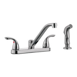 DHI-Corp - Ashland Low Arch Kitchen Faucet with Sprayer, Polished Chrome - The Design House 525048 Ashland Low Arch Kitchen Faucet with Sprayer features a dual handle design with a 48-inch soft hose pullout side sprayer which eliminates baked on residue and rinses dishes and silverware clean of food and grime in hard to reach areas. Finished in polished chrome, this faucet set is refined and elegant with a ceramic disc cartridge and brass waterways. The brass waterways contain zinc and copper which are known to prevent antimicrobial growth ensuring safe and clean water for your family. This faucet has a contemporary finish and modern design to accent the comfort and style of any kitchen. The 1.9-gallon per minute flow rate ensures a steady water flow after years of everyday use and is UPC, ADA, lead-free and cUPc compliant. With a quick connect system, this product adheres to industry leading practices and standards. The Design House 525048 Ashland Low Arch Kitchen Faucet with Sprayer comes with a lifetime limited warranty that protects against defects in materials and workmanship. Design House offers products in multiple home decor categories including lighting, ceiling fans, hardware and plumbing products. With years of hands-on experience, Design House understands every aspect of the home decor industry, and devotes itself to providing quality products across the home decor spectrum. Providing value to their customers, Design House uses industry leading merchandising solutions and innovative programs. Design House is committed to providing high quality products for your home improvement projects.