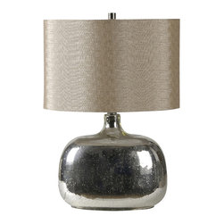 Ren-Wil - Ren-Wil LPT298 Barilla Table Lamp - This contemporary lamp features a large glass base with mercury metal fill and an off white trim less linen shade and matching glass finial.