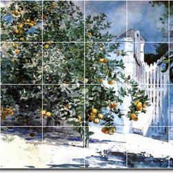 Picture-Tiles, LLC - Orange Tree Nassau Aka Orange Trees And Gate Tile Mural By Winslow Hom - * MURAL SIZE: 32x48 inch tile mural using (24) 8x8 ceramic tiles-satin finish.