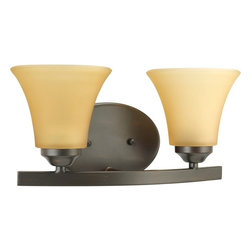 """Progress Lighting - Progress Lighting Adorn Transitional Wall Sconce X-02-9002P - Finished in Antique Bronze the Adorn Transitional Wall Sconce by Progress Lighting offers a very traditional design to an otherwise elegant wall sconce. This design features a very complementary Etched light umber glass shade that houses (2) 100W light fittings. The overall design of this fixture measures in at 6.625"""", making it the perfect little light for nearly any room."""