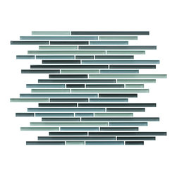 Rocky Point Tile - 10 Square Feet - Vegas Fine Lines Random Strip Glass Mosaic Tiles - Add a pop of color to your kitchen backsplash or turn your shower into a refreshing watery paradise with these stunning strip glass mosaic tiles. Grays, blues and icy white bring the fresh beauty of the Arctic seas to you home, minus the subzero temperatures.
