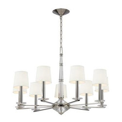 Hudson Valley - 9 Light ChandelierPorter Collection - Hollywood in the 1950s gave birth to a sumptuous style, meant to impress.  This glamorous aesthetic served as the backdrop for America's new royals.  Porter lavishes faceted crystals upon the mirrored shine of Polished Nickel to create a dazzling collecti