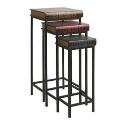 Brownlow Nested Book Tables - Set of 3 - A unique conversational set of nesting tables, the Brownlow book box inspired design features vintage graphics and functional shapes making this set of three a must have for any setting!