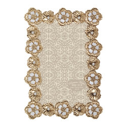 "Enchante Accessories Inc - Parisian Home Metal Jeweled Picture Frame / Photo Frame 4""x 6"" - Ornate metal picture frame"