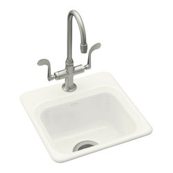 KOHLER - KOHLER K-6579-1-0 Northland Self-Rimming Entertainment Sink - KOHLER K-6579-1-0 Northland Self-Rimming Entertainment Sink with Single-Hole Faucet Drilling in White