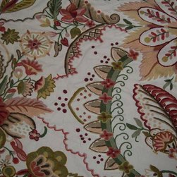 Crewel Fabric World by MDS - Crewel Fabric Garden of Eden Cream Cotton- Yardage - Artisans in a remote mountain village in Kashmir crewel stitch these blossoms, vines and leaves by hand, resulting in a lush pattern of richly shaded wool yarns on Linen, Cotton, Velvet and Silk.