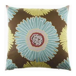 D.V. KAP Home - Sunshine Aqua 24 x 24 Decorative Pillow - -24x24 zippered removable cover  -Comes with Feather/Down insert  -Spot or dry clean D.V. KAP Home - 2085-A