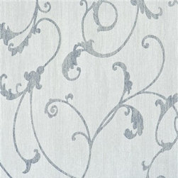 Walls Republic - Thistles Grey Wallpaper R2453 - Thistles is an ornamental floral patterned wallpaper with soft curving lines. In soft chalky pastel colours, inspired by Camargue, France, it will create softness and a relaxing vibe in your bedroom.