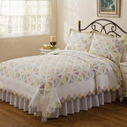American Traditions - Summer Porch Quilt Multicolor - PQ0293SPK-2400 - Shop for Quilts from Hayneedle.com! Traditional and bright there's no substitute for a beautiful quilt like the Summer Porch Quilt. With a gorgeous white microfiber shell and hand-pieced colorful panes it'll liven up the look of any bedroom.Dimensions:Standard sham: 20L x 26W in.Twin quilt: 86L x 68W in.Queen quilt: 86L x 86W in.King quilt: 90L x 100W in.About Pem AmericaMakers of high-quality handcrafted textiles Pem America Outlet specializes in bedding that enhances your comfort and emphasizes the importance of a good night's rest. Quilts comforters pillows and other items for the bedroom are made with care and craftsmanship by Pem America. Their products cover a wide range of materials styles colors and designs all made with long-lasting quality construction and soft long-wearing materials. Details like fine stitching embroidery and crochet decorations and reinforced seaming make Pem America bedding comfortable and just right for you and your family.