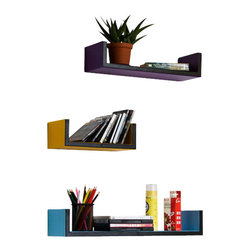 Blancho Bedding - [Simple Lines]U-Shaped Leather Wall Shelf / Bookshelf / Floating Shelf(Set of 3) - These beautifully crafted U Shaped Wall Shelves display the art of woodworking and add a refreshing element to your home. Versatile in design, these leather wall shelves come in various colors and patterns. They spice up your home's decor, and create a multifunctional storage unit for all around your home. These elegant pieces of wall decor can be used for various purposes. It is ideal for displaying keepsakes, books, CDs, photo frames and so much more. Install as shown or you may separate the shelves to create a layout that suits your taste and your style. Each box serves as a practical shelf, as well as a great wall decoration.