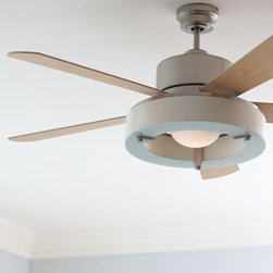 "Satin Nickel Ceiling Fan - This ""Satin Nickel Ceiling Fan"" is designed to easily fit into the decor of any room.  It features a three-speed reversible motor and a wall-mount remote control.     * 56"" blade spin with 14-degree blade pitch.    * 56""Dia. x 19.68""T."