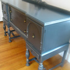Custom Rustic Furniture - SOLD: Antique Victorian Buffet / Sideboard, artfully refinished in elegant black with a hint of glint to show off the hand carved details.  Believed to be from the 1920's, this piece is a heavy sturdy piece with original hardware and smoothly opening doors and drawers.  Piece is too large for delivery available for in state sales only.