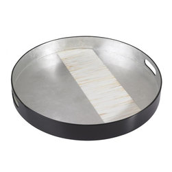 Belle & June - Mother of Pearl Round Tray - Serve your guests with natural elegance. This handmade mother of pearl tray has a silvery, opalescent beauty sure to heighten the pleasure you take in entertaining.