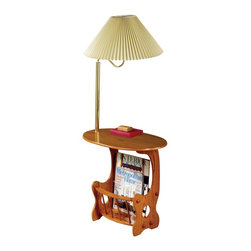 "Coaster - ""Coaster Magazine Table, Oak"" - ""Oak finished chairside table with brass finish lamp and magazine rack.Dimensions (W x L x H): 15.75"""" x 23.75"""" x 52.50""""Finish/Color: OakAssembly Required: NoMade in Taiwan"""