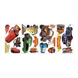 RoomMates Peel & Stick - Cars Piston Cup Champs Wall Decals - Bring the action and adventure of Disney Pixar's Cars into your child's room with these colorful wall decals. Completely removable and repositionable, these fun stickers are perfect for walls, furniture, mirrors, windows, and any other flat surface you can think of. Your little boy or girl will just love having the Cars characters in their room!