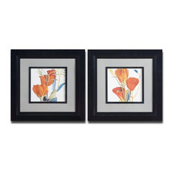 Grace Feyock - Grace Feyock Red Grandiflorum I, II Wall Art / Wall Decor X-76533 - Vibrant floral prints are accented by medium gray mats and surrounded by black satin frames and fillets. Prints are under glass.