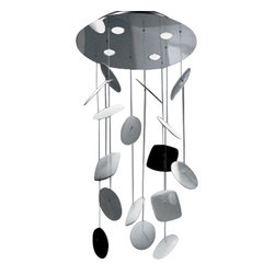 """Zaneen - Panzeri - Zaneen - Panzeri AFEF Chandelier D8-1149 - Product description:    The AFEF LED pendant light by Zaneen was designed by Enzo Panzeri for Panzeri. Ceramic decorative elements are suspended on steel wires from a polished stainless steel canopy. AFEF LED also features a central LED light source.  This allows the AFEF LED to be highlighted in red, green, blue or a mix of the colors. Includes a hand-held remote that controls the LEDs.  10 foot accessory kit is also available.                         Manufacturer:                        Zaneen-Panzeri                                                 Designer:                          Enzo Panzeri                                         Made  in:            Italy                            Dimensions:                        Height: 59"""" (150 cm) Width: 24"""" (61 cm)                                          Light  bulb:                        3 X 3W led halogen & 4 75W MR20 halogen                                         Material:            steel, ceramic                  Product description:    The AFEF LED chandelier light by Zaneen was designed by Enzo Panzeri for Panzeri. Ceramic decorative elements are suspended on steel wires from a polished stainless steel canopy. AFEF LED also features a central LED light source.  This allows the AFEF LED to be highlighted in red, green, blue or a mix of the colors. Includes a hand-held remote that controls the LEDs.  10 foot accessory kit is also available.                         Manufacturer:                        Zaneen-Panzeri                                                 Designer:                          Enzo Panzeri                                         Made  in:            Italy                            Dimensions:                        Height: 59"""" (150 cm) Width: 24"""" (61 cm)                                          Light  bulb:                        3 X 3W led halogen & 4 75W MR20 halogen                                         Material:           """