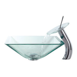 Kraus - Kraus C-GVS-901-19mm-10CH Clear Aquamarine Glass Vessel Sink & Waterfall Faucet, - Add a touch of elegance to your bathroom with a glass sink combo from Kraus