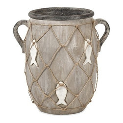 """IMAX - St John Small Vase - This casual handled vase features an embossed and painted fish motif and jute twine netting. Item Dimensions: (12.5""""h x 9""""w x 12.5"""")"""