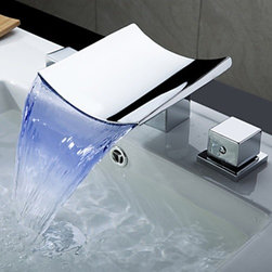 Bathroom Faucets - Color Changing LED Waterfall Widespread Bathroom Faucet (Chrome Finish)--FaucetSuperDeal.com