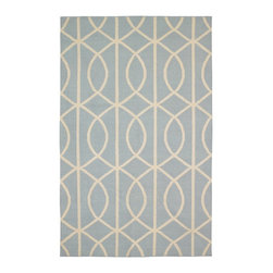 DwellStudio Home Gate Azure/Cream Rug - This soft wool throw rug from DwellStudio adds soft curves and exotic geometry that will ground your room in elegant style.